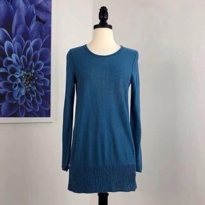 J Jill Linen Pintuck Hem Tunic Sweater